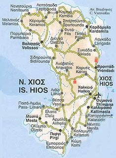 Chios, mapa wyspy
